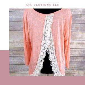 A1 Peach Open Back Crotchet Trim Detail Shirt Smal